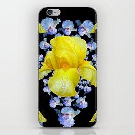 YELLOW & BLUE-WHITE IRIS BLACK ABSTRACT PATTERN iPhone Skin