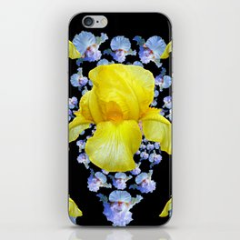 YELLOW & BLUE-WHITE IRIS BLACK ABSTRACT PATTERN iPhone Skin