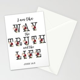 I am the Way the Truth and the Life Modern Floral Typography Stationery Cards
