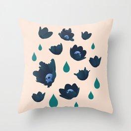 Winter Poppies Blush Throw Pillow