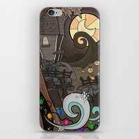 nightmare before christmas iPhone & iPod Skins featuring Nightmare Before Christmas by Lacey Simpson