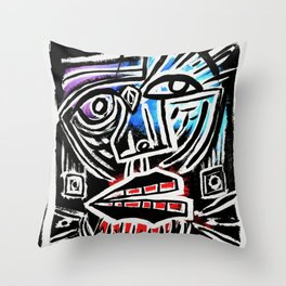 """""""Excuse me?"""" Abstract Face Painting Throw Pillow"""