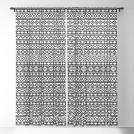 Aztec Essence Pattern II White on Black Sheer Curtain