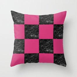 Elegant black marble & hot pink checkered Throw Pillow