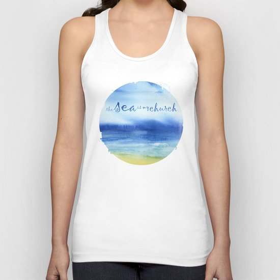 The Sea Is My Church (text) Unisex Tank Top