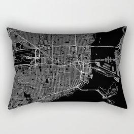 Miami Black Map Rectangular Pillow