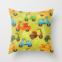 Mod Scooters Throw Pillow