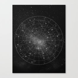 Constellation Star Map (B&W) Canvas Print