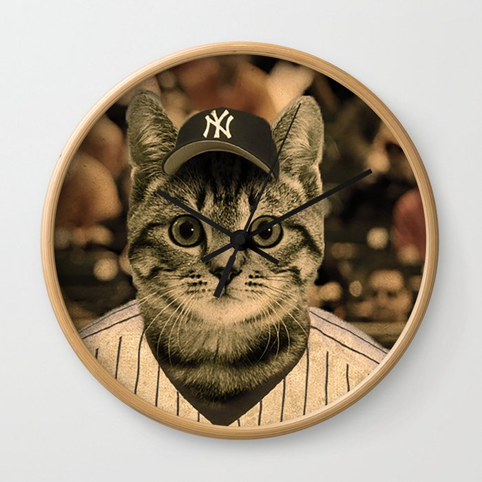 Baseball Cat Wall Clock