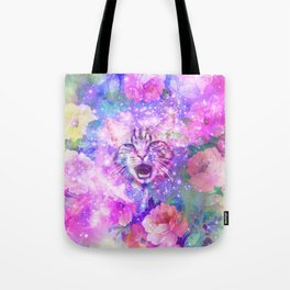 Space Cat | Girly Kitten Cat Romantic Floral Pink Nebula Space Tote Bag