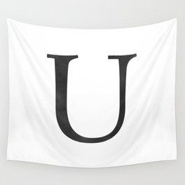 Letter U Initial Monogram Black and White Wall Tapestry