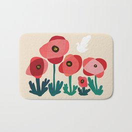 Poppy flowers and bird Bath Mat