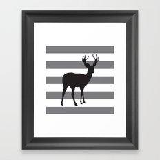 Deer in Black on Grey and White Stripes Framed Art Print