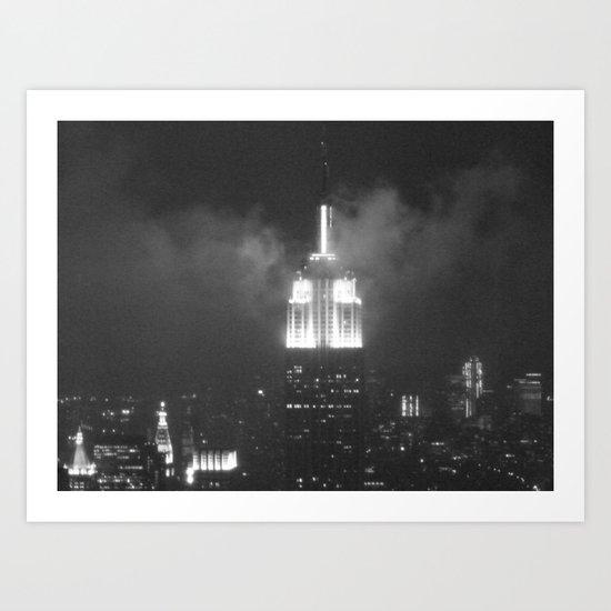 Gotham city in black and white Art Print