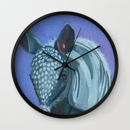 Baby Armadillo Portrait Painting Wall Clock