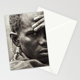4335 Portrait of Tanzania Maasai Warrior - Africa Stationery Cards