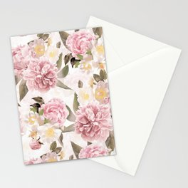 Vintage & Shabby Chic - Antique Sepia Summer Day Roses And Peonies Botanical Garden Stationery Cards