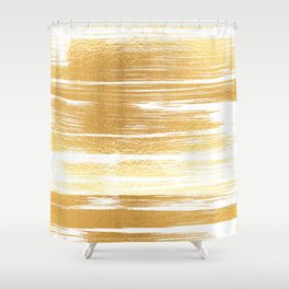 Abstract faux gold white modern paint brushstrokes Shower Curtain