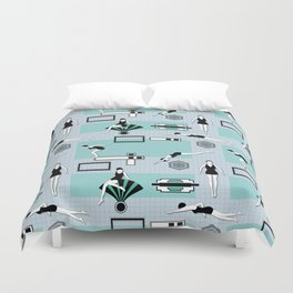 Art Deco Swimmers Duvet Cover