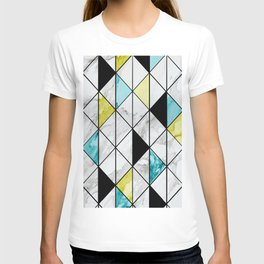 Marble Colorblocking with Yellow and Turquoise T-shirt