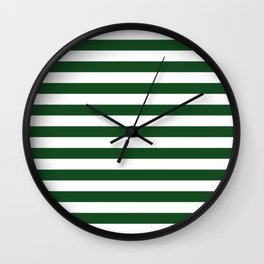 Large Forest Green and White Rustic Horizontal Beach Stripes Wall Clock