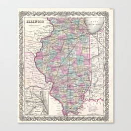 Vintage Map of Illinois (1855) Canvas Print