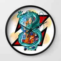 dbz Wall Clocks featuring DBZ - A Hero by Mr. Stonebanks