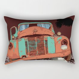 Art print: Old vintage car, the Raven and the Wolf skull Rectangular Pillow