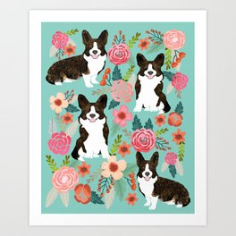 Brindle Cardigan Corgi Florals - cute corgi design, corgi owners will love this mint florals corgi Art Print