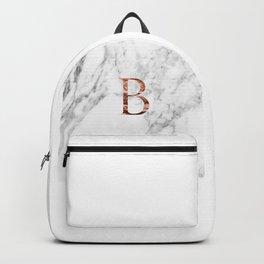 Monogram rose gold marble B Backpack