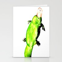 platypus Stationery Cards featuring Green Platypus by Tesseract