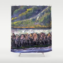 The Train Whistle Echos in Glenwood Canyon Shower Curtain