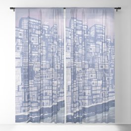 Silver over Sepiantida / Indigo Sheer Curtain
