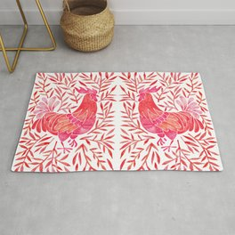 Le Coq – Watercolor Rooster with Red Leaves Rug