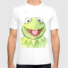 Frog Kermit Portrait White 2X-LARGE Mens Fitted Tee