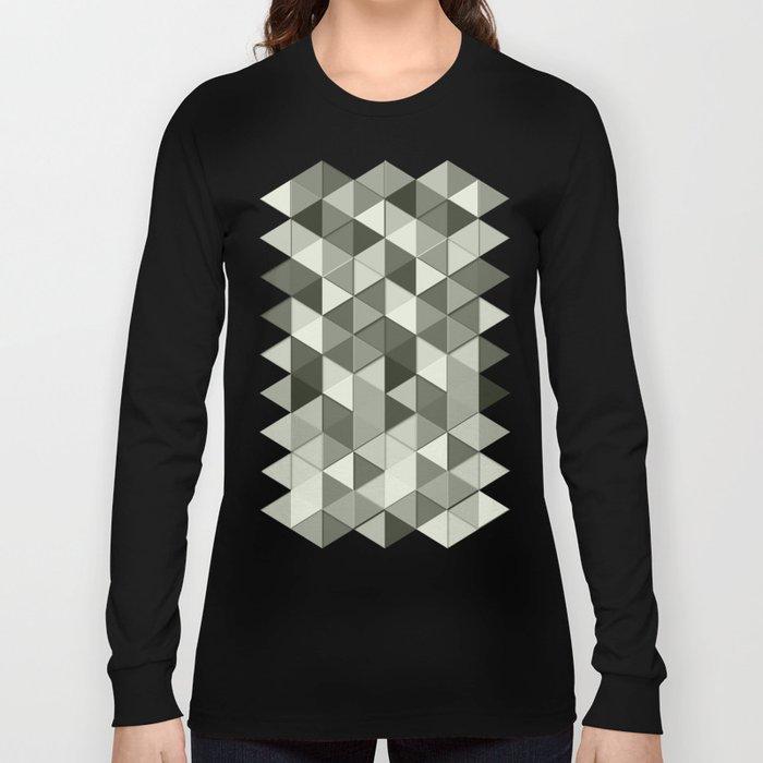 Cool Grayscale triangles geometric pattern Long Sleeve T-shirt