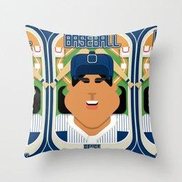 Baseball Blue Pinstripes - Deuce Crackerjack - Indie version Throw Pillow