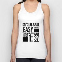 bible verse Tank Tops featuring Faith Does Not Make Things Easy- Biblical Verse by PA Melvin