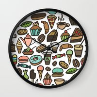 macaroon Wall Clocks featuring Coffee and pastry. by Julia Badeeva