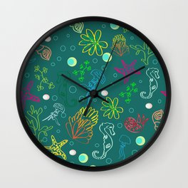 Hand drawn seamless sea life pattern. Wall Clock