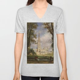 """John Constable """"Salisbury Cathedral from the Bishop's Garden"""" Unisex V-Neck"""