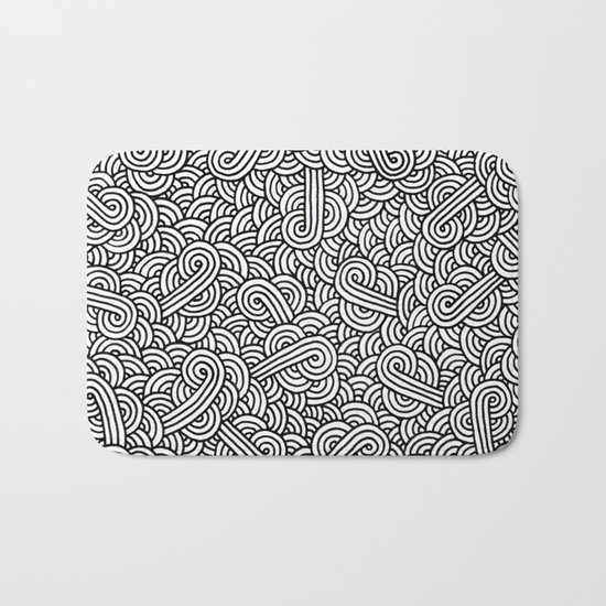 Black and white swirls doodles Bath Mat