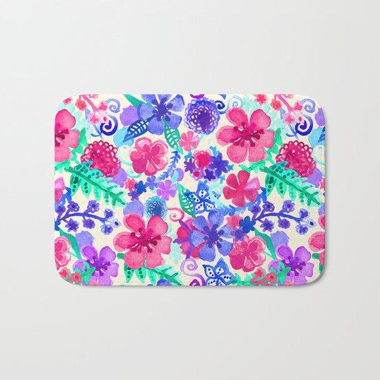 Fresh Watercolor Floral Pattern Bath Mat