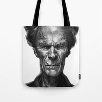 clint eastwood Tote Bags featuring Clint Eastwood by Thomas Bryant