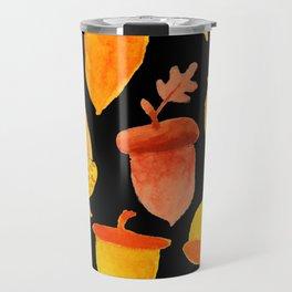 Acorns - Black Travel Mug