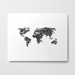 Marble World Map II Metal Print