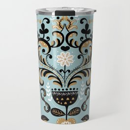 Scandinavian Winter Celebration With Birds Travel Mug