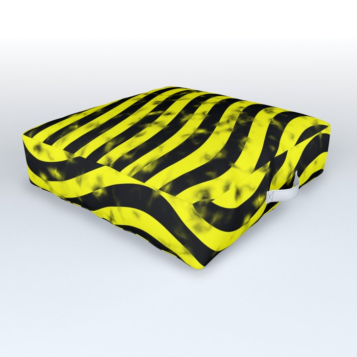 Wiggly Yellow and Black Speckle Pattern Outdoor Floor Cushion