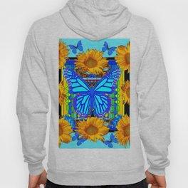 Blue Butterfly Gold Sunflowers design Hoody