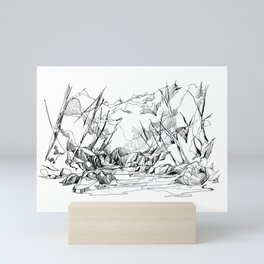 Calm Creek in a Thick Forest Mini Art Print